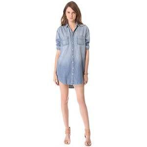 J Brand Marlow Jean Denim Shirt Mini Dress Nimbus